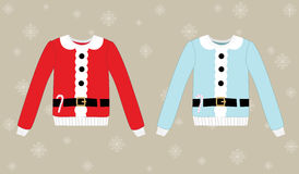 Christmas sweaters on background with snowflakes Stock Photography