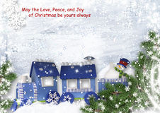 Christmas sweet background with train and snowman Royalty Free Stock Image