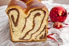 Christmas sweet bread. Traditional homemade Christmas sweet bread Stock Image