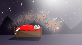 Christmas-sweet-dreams. Counting reindeers helps Santa fall asleep Royalty Free Stock Photography