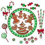 Christmas sweets. In red, green and white Stock Photo