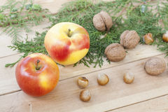 Christmas sweets, apples, nuts and green arborvitae branch on a wooden table Stock Images