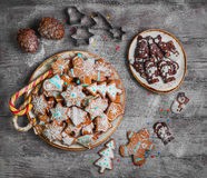Christmas sweets baking gingerbread cookies Royalty Free Stock Photos