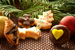 Christmas sweets, cookies and decoration. Christmas sweets, cookies, decoration and needles Royalty Free Stock Images