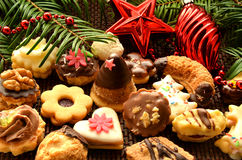 Christmas sweets, cookies and decoration. Christmas sweets, cookies, decoration and needles Stock Images