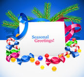 Christmas sweets and ribbon decoration Stock Images