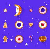 Christmas sweets. Christmas time in bakery shop. Flat illustration Royalty Free Stock Photography