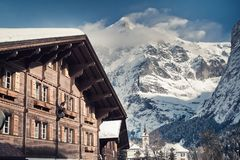 Christmas in Swiss Alps hotel Stock Photo
