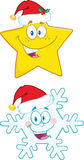 Christmas Symbol Cartoon Characters. Collection Set Stock Images