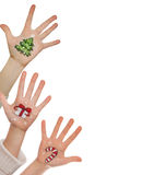 Christmas symbol painted on hand. Christmas background Stock Photography