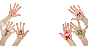 Christmas symbol painted on hand. Christmas background Royalty Free Stock Image