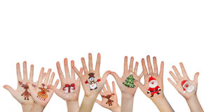 Christmas symbol painted on hand. Christmas background Royalty Free Stock Photography