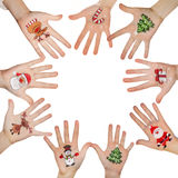 Christmas symbol painted on hand. Christmas background Stock Photos