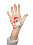 Christmas symbol painted on hand. Christmas background Royalty Free Stock Photo
