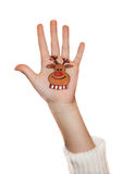 Christmas symbol painted on hand. Reindeer Stock Photos