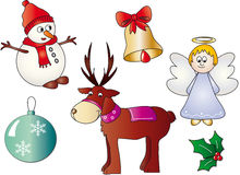 Christmas symbols. Illustration of Christmas symbol with angel, bell, reindeer, snowman, Christmas ball, holly Royalty Free Stock Image