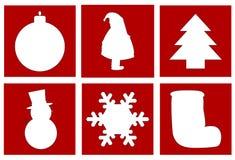 Christmas symbols. Including a ball,santa , christmas tree, snowman ,snowflake and stocking Royalty Free Illustration