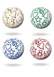 Christmas symbols. Colorful christmas symbols on four white balls Royalty Free Stock Image