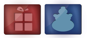 Christmas Symbols. Gift and snowman - two red/blue symbols (buttons Royalty Free Stock Photos