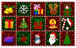 Christmas Symbols. An illustrated background with various Christmas symbols Stock Image