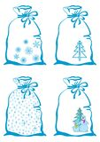 Christmas symbols on bags Stock Photos