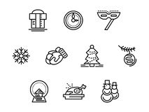 Christmas symbols black line icons set. Christmas holidays and wintertime symbols. Festive accessories, mittens, snowman, Xmas tree. Set of black simple line Royalty Free Stock Photo