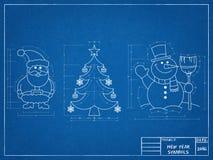 Christmas Symbols - Blueprint. Shoot of the Christmas Symbols - Blueprint Stock Photo