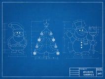 Christmas Symbols - Blueprint Stock Image