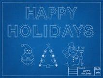Christmas Symbols - Blueprint Royalty Free Stock Photos
