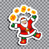 Christmas symbols-01. Cartoon Santa Claus with gift box isolated on transparent background. Christmas vector illustration. Design element for greeting cards or royalty free illustration
