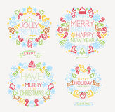 Christmas symbols color Stock Images