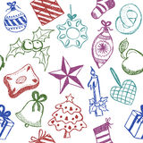 Christmas symbols doodles. Illustration of christmas symbols, hand drawn style, seamless pattern Royalty Free Stock Photo