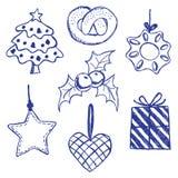 Christmas symbols doodles set. Illustration of christmas symbols, hand drawn style Stock Photos
