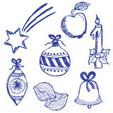Christmas symbols doodles set Royalty Free Stock Photo