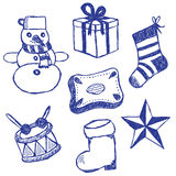 Christmas symbols doodles set Stock Image
