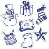 Christmas symbols doodles set. Illustration of christmas symbols, hand drawn style Stock Image