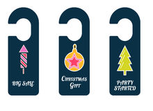 Christmas symbols in door tags. Stock Photos