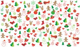 Christmas symbols festive seamless pattern. Christmas winter holiday symbols, icons seamless pattern. Happy new year decoration ornamental background elements Royalty Free Stock Image