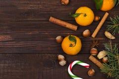 Christmas symbols - fir-tree, tangerines, candy cane, cinnamon, Royalty Free Stock Image