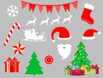 Christmas symbols in a flat style icons. Vector. Illustration Stock Image