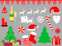 Christmas symbols in a flat style icons. Vector. Illustration Royalty Free Stock Photo