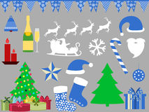 Christmas symbols in a flat style icons. Vector. Illustration Stock Photos
