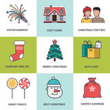 Christmas symbols flat style Royalty Free Stock Photo