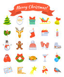 Christmas symbols flat vector icons set Stock Photography