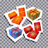 Christmas symbols-04. Christmas gift boxes isolated on transparent background. Xmas vector illustration. Design element for greeting cards or flyers Stock Illustration