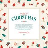 Christmas symbols greeting card, xmas pictograms, Royalty Free Stock Image