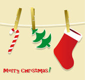 Christmas symbols hanging Stock Photo