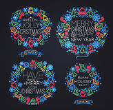 Christmas symbols neon Stock Images