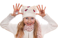 Christmas symbols painted on hands. Christmas tree and Snow man Stock Photos
