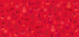 Christmas symbols red festive pattern. Christmas winter holiday symbols, icons seamless pattern. Happy new year decoration ornamental background elements snowman Royalty Free Stock Photo